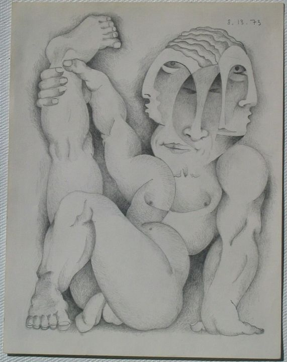 Adonis - Painting,  12x9 in ©1973 by Ran Webber -            drawing, pencil on paper, figurative