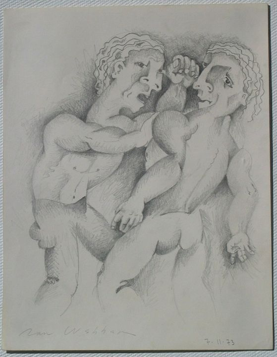 Brother's Brawl - Painting,  12x9 in ©1973 by Ran Webber -            drawing, pencil on paper, figurative