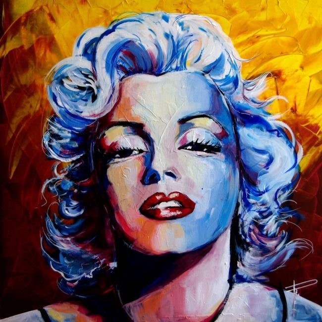 Painting,  80 x 80 cm ©2012 by Raphael Romeo -  Painting, Marilyn Monroe