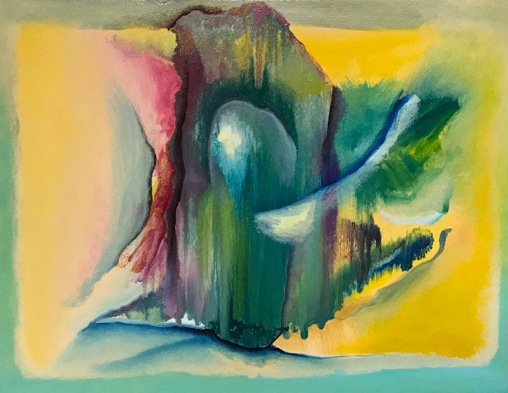 ENCUENTRO CON EL PRESENTE - Painting,  31x41 cm ©2018 by RAUL CANESTRO -                                                            Abstract Art, Paper, Abstract Art, arte abstracto, surrealismo, fauvismo, expresionismo abstracto