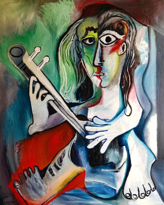 EL GUITARRISTA - Painting,  116x89 cm ©2018 by RAUL CANESTRO -                                                                                                Cubism, Abstract Expressionism, Surrealism, Canvas, Culture, Music, music, musica, guitar, guitarra