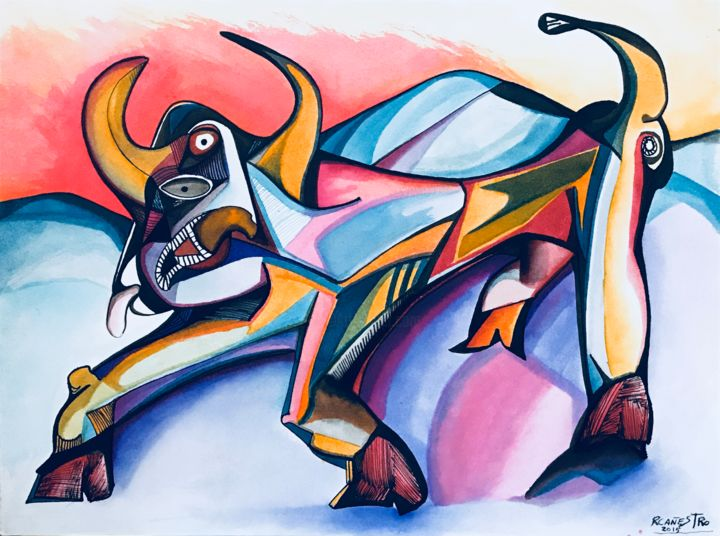 TORO MULTICOLORES - Painting,  25x34 cm ©2015 by RAUL CANESTRO -                                                                                                Figurative Art, Cubism, Abstract Expressionism, Surrealism, Paper, Animals, toro, bull, animal, rcanestro, raul canestro, cubismo