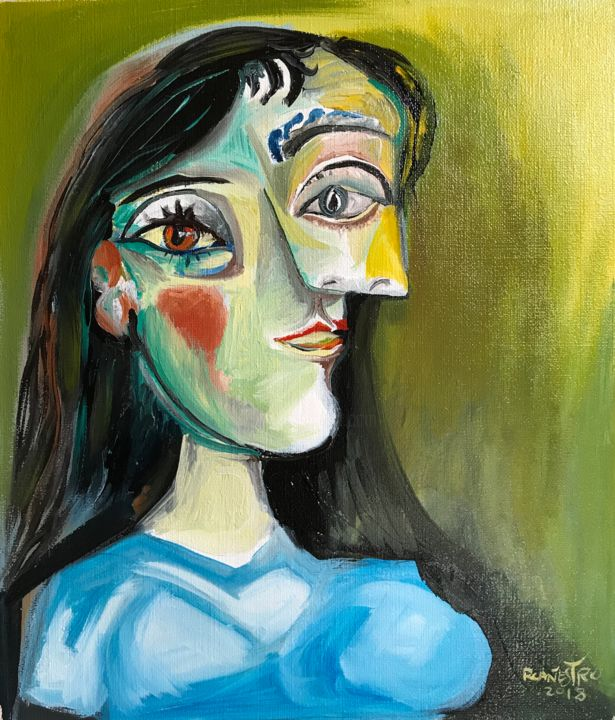 Jacqueline Roque - Painting,  15.8x13.8 in, ©2018 by Raul Cañestro Caballero -                                                                                                                                                                                                                                                                                                                                                                                                                                                      Figurative, figurative-594, Portraits, jacqueline picasso, rcanestro, raul canestro, cubism, cubismo, oil painting