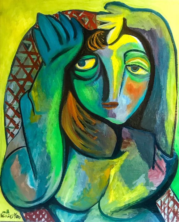 LA TUMBONA - Painting,  24x19.7 in, ©2018 by Raul Cañestro Caballero -                                                                                                                                                                                                                                                                                                                                                                                                                                                                                                                                                                                                                                                                                                                                                                          Figurative, figurative-594, Colors, Body, Nude, Women, plalla, nude, mujer, cubism, cubismo, raul canestro, picasso, oil painting, painting oil, art