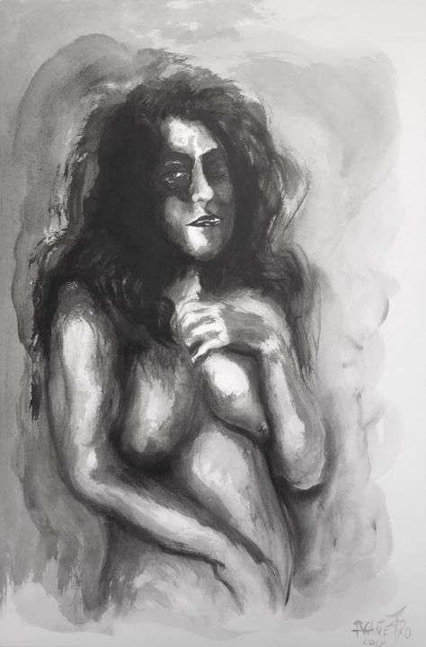 GRISES CÁLIDOS - Painting,  22.1x15 in, ©2018 by Raul Cañestro Caballero -                                                                                                                                                                                                                                                                                                                                                                                                          Figurative, figurative-594, Nude, nude, desnudo, nude art, china ink, tinta china