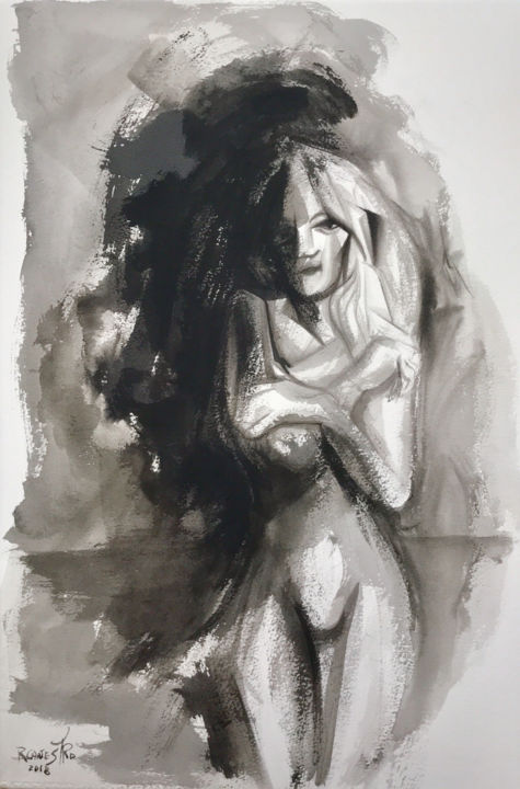 BRISA MARINA - Painting,  56x38 cm ©2018 by RAUL CANESTRO -                                                                        Figurative Art, Abstract Expressionism, Paper, Nude, rcanestro, raul canestro, raul cañestro, nude art, nude, erotic art, china ink, chinese ink, tinta china, desnudo