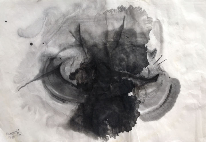 CARBÓN - © 2018 xuan paper, chinese ink, sumi-e, abstract, art, painting, rcanestro, raul canestro, suiboku-ga Online Artworks