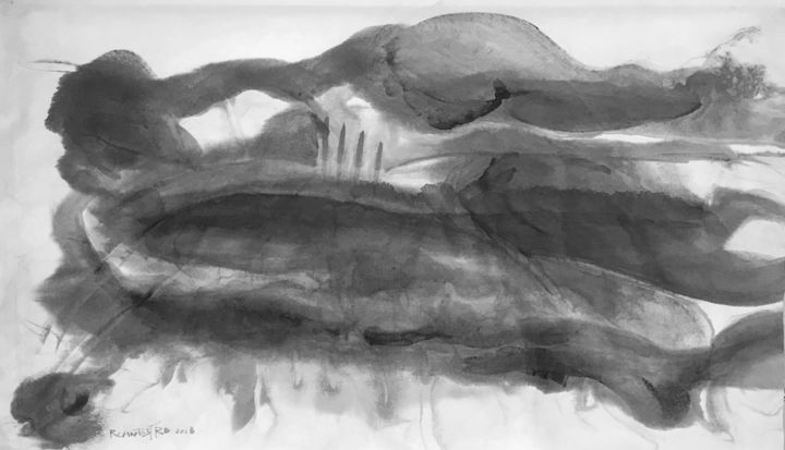GRISES HORIZONTALES - Painting,  34x58 cm ©2018 by RAUL CANESTRO -                                                                        Abstract Art, Abstract Expressionism, Paper, Abstract Art, arte abstracto, abstract art, sumi-e, chinese ink, xuan paper, rice paper, art, painting, rcanestro, raul canestro, suiboku-ga