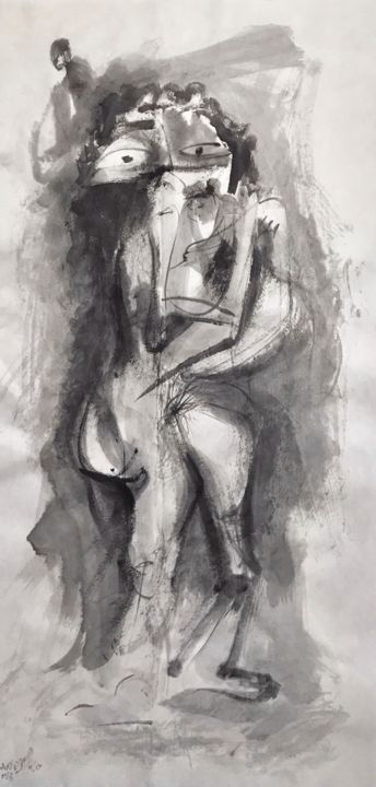 MATERNIDAD - Painting,  69x34 cm ©2018 by RAUL CANESTRO -                                                                        Figurative Art, Abstract Expressionism, Paper, Family, sumi-e, chinese ink, tinta china, india ink, xuan paper, rcanestro, raul canestro