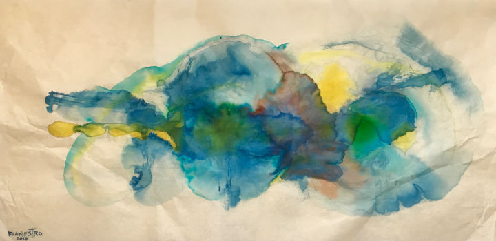 ATREVIMIENTO - Painting,  34x69 cm ©2018 by RAUL CANESTRO -                                                                        Abstract Art, Paper, Abstract Art, Spirituality, chinese ink, india ink, tinta china, abstract art, painting, art, rcanestro, raul canestro