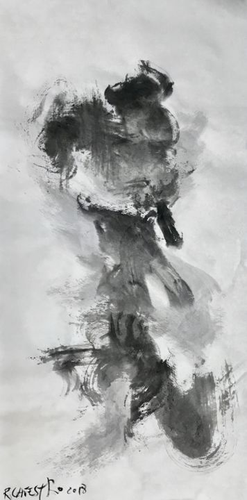 JAPÓN - Painting,  69x35 cm ©2018 by RAUL CANESTRO CABALLERO -                                                                                                            Abstract Art, Abstract Expressionism, Contemporary painting, Paper, Abstract Art, Black and White, Spirituality, abstract art, sumi-e, chinese ink, india ink, encre de china, tinta china, art, painting, rcanestro, raul canestro
