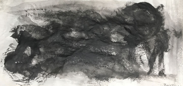 SENTIMIENTOS - Painting,  34x69 cm ©2018 by RAUL CANESTRO CABALLERO -                                            Abstract Art, Abstract Art, chinese ink, tinta china, india ink, encre de china, abstract art, painting, paper, rcanestro, raul canestro