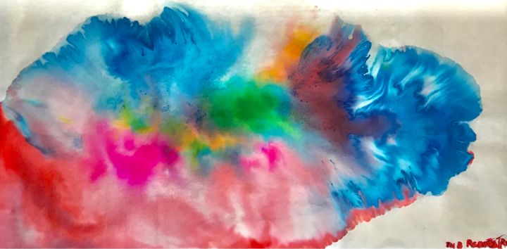 FUEGO SOLAR - Painting,  34x69 cm ©2018 by RAUL CANESTRO CABALLERO -                                                                    Abstract Art, Abstract Expressionism, Fauvism, Abstract Art, abstract art, arte abstracto, chinese ink, india ink, encre de china, tinta china, painting, rcanestro, raul canestro, pintura, paper