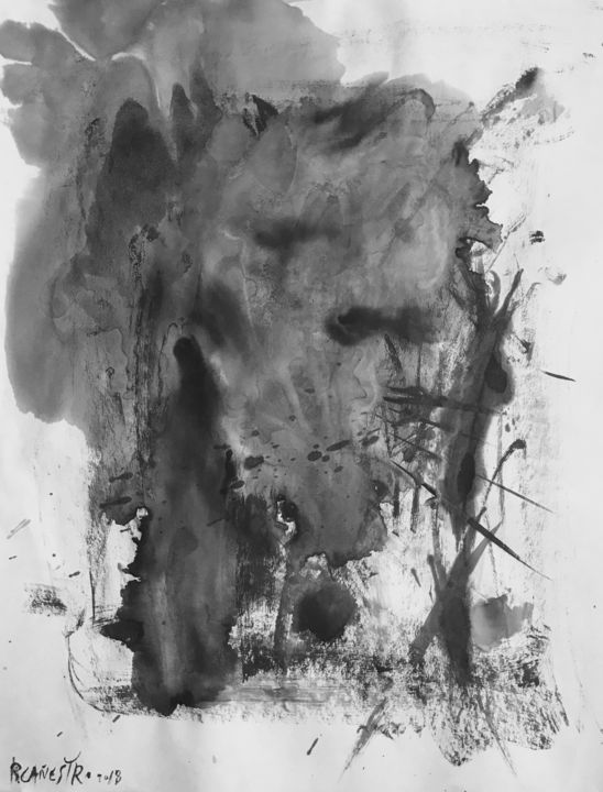 PAISAJE ONÍRICO - Painting,  65x50 cm ©2018 by RAUL CANESTRO CABALLERO -                                            Abstract Art, Abstract Art, abstract art, abstract painting, sumi-e, chinese ink, india ink, encre de china, tinta china, rcanestro, raul canestro