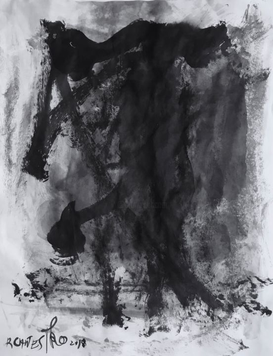HOMBRES - Painting,  25.6x19.7 in, ©2018 by Raul Cañestro Caballero -                                                                                                                                                                                                                                                                                                                                                                                                                                                                                                                                                                                          Abstract, abstract-570, Abstract Art, abstract art, abstract painting, sumi-e, chinese ink, encre de chine, india ink, tinta china, rcanestro, raul canestro