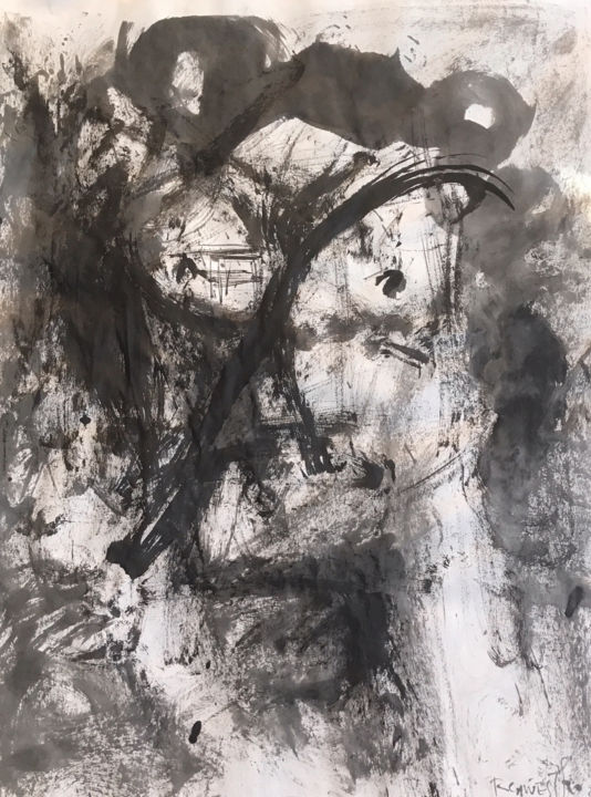 SUMI III - Painting,  25.6x19.7 in, ©2018 by Raul Cañestro Caballero -                                                                                                                                                                                                                                                                                                                                                                                                                                                                                                                                                                                          Abstract, abstract-570, Abstract Art, abstrac art, abstract painting, sumi-e, chinese ink, india ink, encre de chine, tinta china, rcanestro, raul canestro