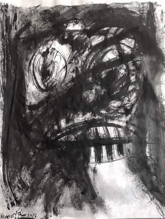 SUMI IV - Painting,  65x50 cm ©2018 by RAUL CANESTRO CABALLERO -                                                                    Abstract Art, Figurative Art, Abstract Expressionism, Abstract Art, abstract art, abstract painting, sumi-e, chinese ink, india ink, encre de chine, tinta china, rcanestro, raul canestro