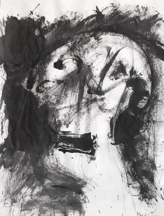 SUMI V - Painting,  25.6x19.7 in, ©2018 by Raul Cañestro Caballero -                                                                                                                                                                                                                                                                                                                                                                                                                                                                                                                                              Abstract, abstract-570, Abstract Art, abstract art, abstract painting, chinese ink, encre de chine, tinta china, rcanestro, raul canestro, sumi-e