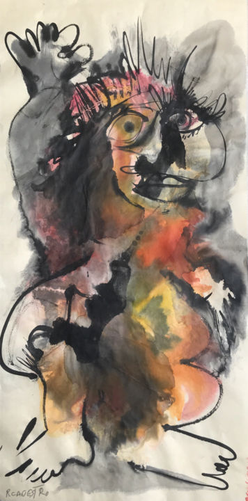EL SALUDO - Painting,  69x35 cm ©2018 by RAUL CANESTRO CABALLERO -                                                                                Figurative Art, Cubism, Abstract Expressionism, Abstract Art, Colors, cubism, abstract art, fugurative art, painting, chinese ink, india ink, encre de chine, tinta china, rcanestro, raul canestro, raul cañestro