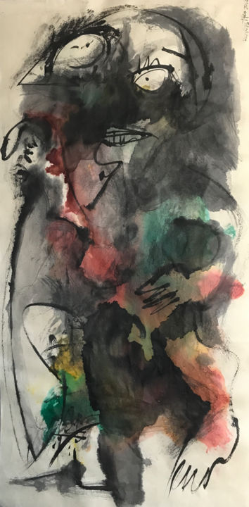 EL COJO - Painting,  69x34 cm ©2018 by RAUL CANESTRO CABALLERO -                                                                                Abstract Art, Figurative Art, Cubism, Abstract Expressionism, Abstract Art, abstrac art, chinese ink, india ink, encre de chine, tinta china, rcanestro, raulcanestro, raul cañestro, cubism, painting