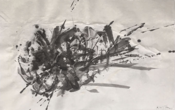 TELA DE ARAÑA - Painting,  44x69 cm ©2018 by RAUL CANESTRO CABALLERO -                                            Abstract Art, Abstract Art, abstract art, abstract painting, sumi-e, chinese ink, india ink, encre de chine, tinta china, rcanestro, raul canestro, raul cañestro