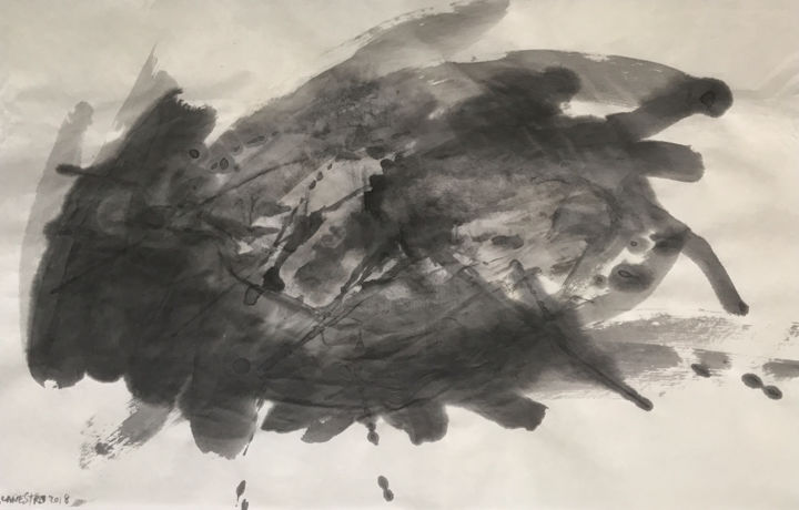 INSPIRACIÓN SIN TÉCNICAS - © 2018 abstract painting, art, sumi-e, chinese ink, india ink, encre de chine, tinta china, rcanestro, raul cañestro Online Artworks