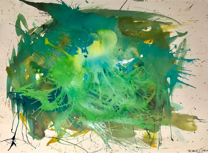 MAGIA VERDE - Painting,  56x76 cm ©2018 by RAUL CANESTRO CABALLERO -                                                                                    Abstract Art, Abstract Expressionism, Fauvism, Paper, Abstract Art, abstract art, painting, contemporary art, chinese ink, india ink, encre de chine, tinta china, rcanestro, raul canestro, raul cañestro