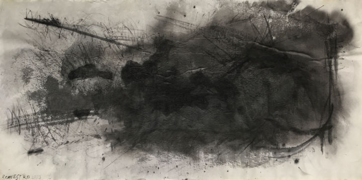 NUBOSIDAD - Painting,  44x69 cm ©2018 by RAUL CANESTRO CABALLERO -                                                            Abstract Art, Paper, Abstract Art, abstract art, painting, sumi-e, chinese ink, encre de chine, india ink, tinta china, rcanestro, raul canestro, raul cañestro