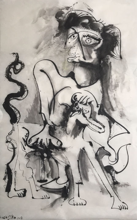 DAMA CON PERRO - Painting,  21.7x13.4 in, ©2018 by Raul Cañestro Caballero -                                                                                                                                                                                                                                                                                                                                                                                                                                                                                                                                                                                                                                                                                                                                                                          Figurative, figurative-594, Animals, Abstract Art, Celebrity, cubismo, cubism, picasso, chinese ink, encre de chine, india ink, tinta china, rcanestro, raul canestro, raul cañestro, contemporary art