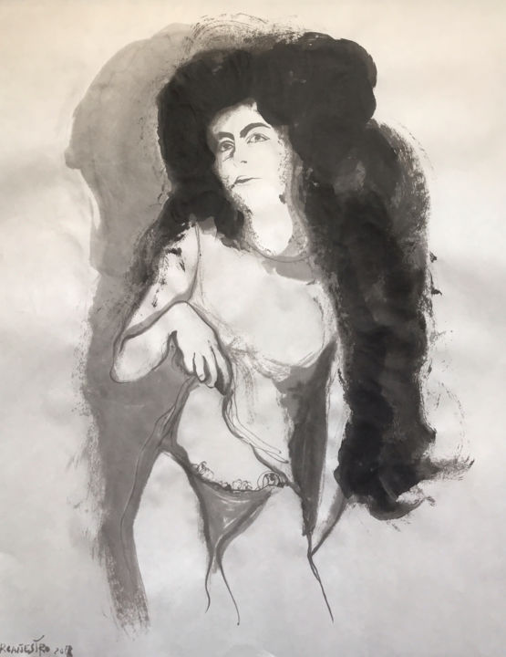MUCHACHA MORENA - © 2018 mujer, woman, nude, erotic art, chinese ink, india ink, encre de chine, tinta china, rcanestro, raul canestro, raul cañestro, contemporary art Online Artworks