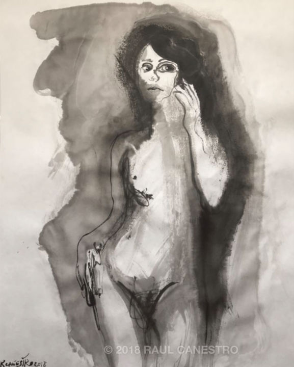 SOMBRAS DEL DESEO - Painting,  65x50 cm ©2018 by RAUL CANESTRO CABALLERO -                                                                                                                        Figurative Art, Contemporary painting, Paper, Love / Romance, Body, Nude, Erotic, Women, nude art, contemporary art, painting, sumi-e, chinese ink, india ink, encre de chine, tinta china, rcanestro, raul canestro, raul cañestro