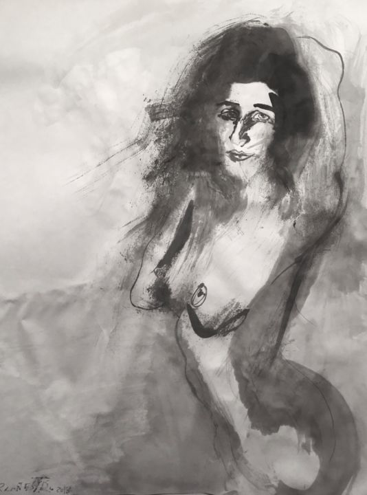 LA BELLEZA EN GRIS - Painting,  65x50 cm ©2018 by RAUL CANESTRO CABALLERO -                                                            Figurative Art, Paper, Nude, nude art, chinese ink, india ink, encre de chine, tinta china, contemporary árt, rcanestro, raul canestro, raul cañestro