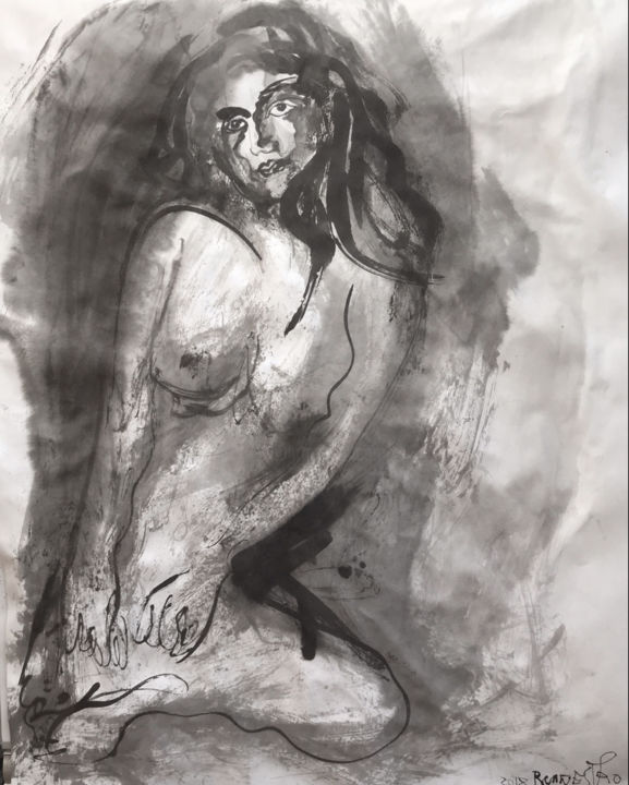 BELLEZA DE UNA MUJER - Painting,  65x50 cm ©2018 by RAUL CANESTRO CABALLERO -                                                            Figurative Art, Paper, Nude, nude art, painting, chinese ink, india ink, encre de chine, tinta china, contemporary art, sumi-e, rcanestro, raul canestro, raul cañestro