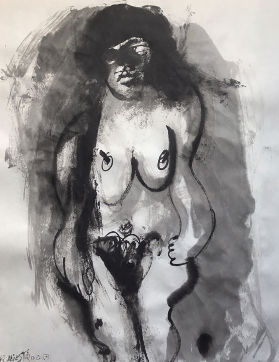 ÍMPETU - © 2018 nude art, chinese ink, india ink, encre de chine, tinta china, contemporary art, painting, rcanestro, raul canestro, raul cañestro, sumi-e Online Artworks