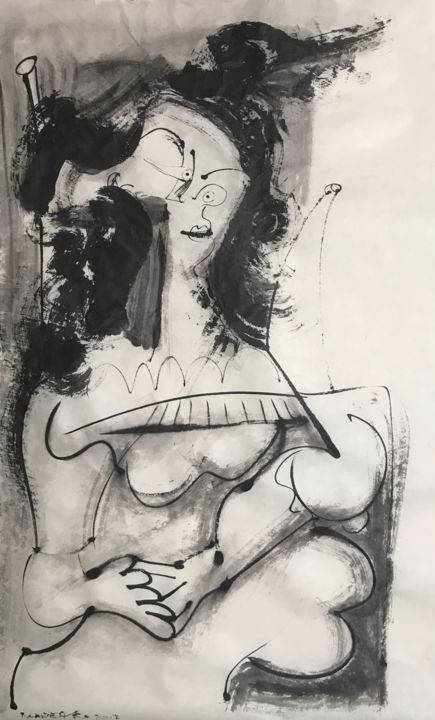 MUJER SENTADA - © 2018 cubism, cubismo, contemporary art, chinese ink, india ink, encre de chine, tinta china, sumi-e, rice paper, rcanestro, raul canestro, raul cañestro Online Artworks