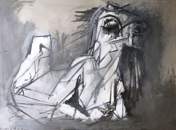 MUJER INVISIBLE - © 2018 igualdad mujer, cubism, abstract expressionism, chinese ink, india ink, encre de chine, tinta china, rcanestro, raul canestro, raul cañestro, contemporary art Online Artworks