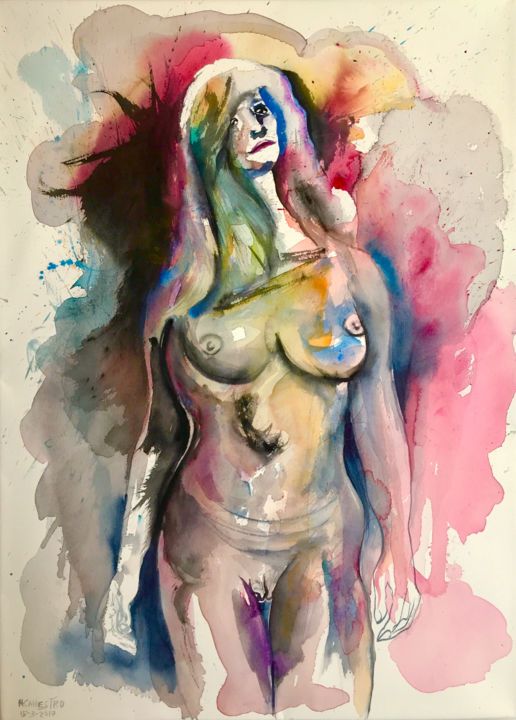 BELLEZA CREPUSCULAR - Painting,  76x56 cm ©2017 by RAUL CANESTRO CABALLERO -                                                                                                            Figurative Art, Abstract Expressionism, Fauvism, Contemporary painting, Paper, Nude, Erotic, nude art, watercolor, acuarela, contemporary art, rcanestro, raul canestro, raul cañestro