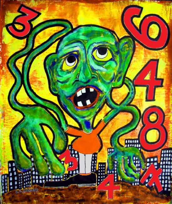 """Painting titled """"The Number Game"""" by Outsider Artist, Original Art, Oil"""