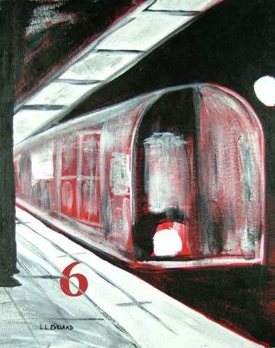 """Painting titled """"Red Rail NYC"""" by Outsider Artist, Original Art,"""