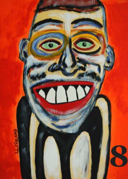 """Painting titled """"The Mad Man"""" by Outsider Artist, Original Art,"""