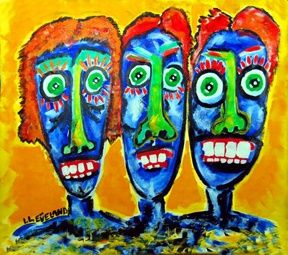 """Painting titled """"Mother Daughter Hol…"""" by Outsider Artist, Original Art, Oil"""