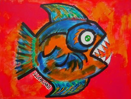"""Painting titled """"The Fish"""" by Outsider Artist, Original Art, Oil"""