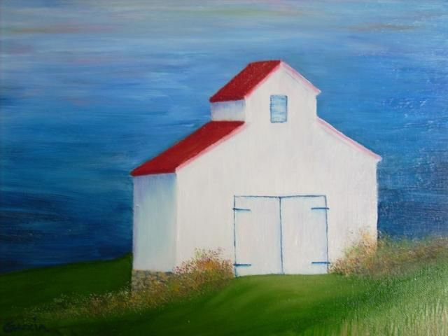 White Barn with Red Roof #1 - Painting,  16x20 in, ©2005 by Ray Garcia -