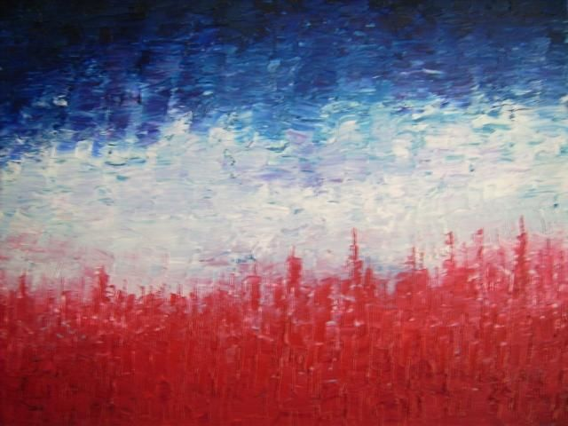 Red White Blue Landscape Painting 16x20 In 2004 By Ray Garcia