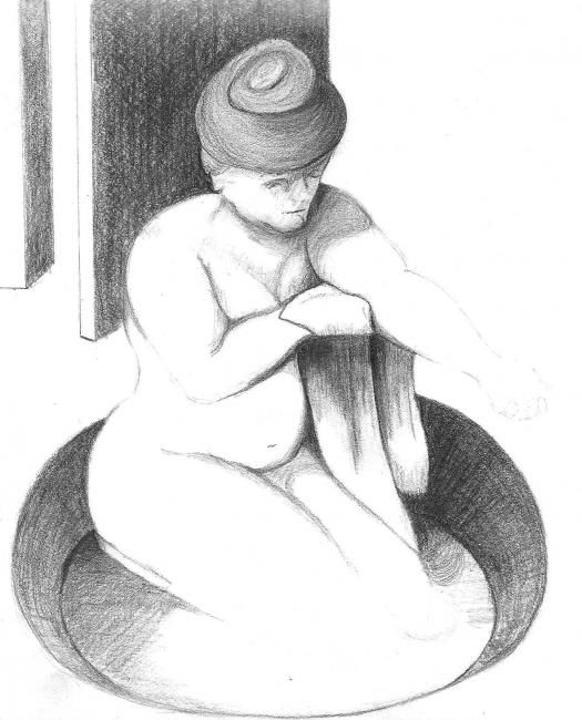 """Drawing titled """"Woman in Tub - afte…"""" by Ray Garcia, Original Art,"""