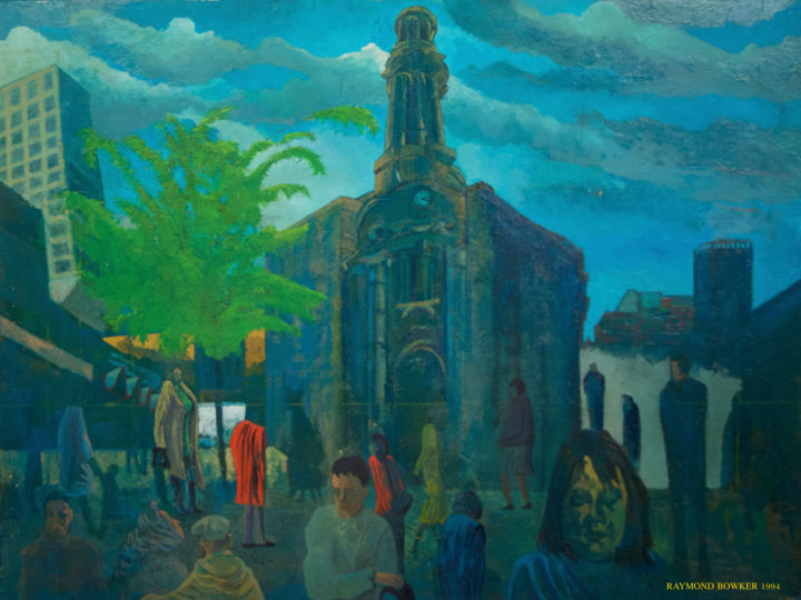 """Painting titled """"St Annes Square Man…"""" by Raymond Bowker, Original Art, Oil"""
