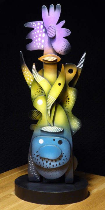 """Sculpture titled """"Totem V"""" by Thierry Corpet (Raymond X), Original Art, Wood"""