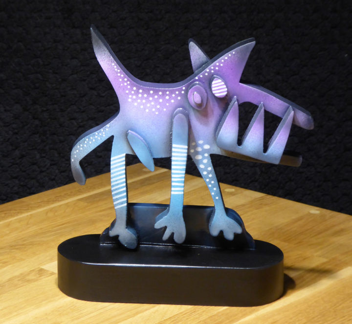 """Sculpture titled """"Tiny Mad Dog"""" by Thierry Corpet (Raymond X), Original Art, Wood"""