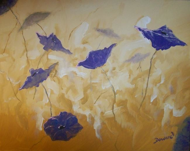 """Painting titled """"Poppies"""" by Raymond Doward, Original Art, Oil"""
