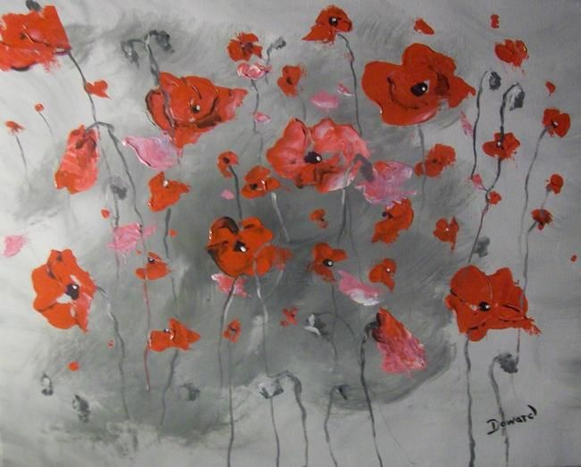"""Painting titled """"Red Poppies"""" by Raymond Doward, Original Art, Oil"""